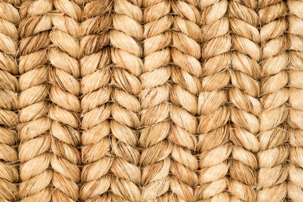 hand woven sisal rug detail. - sisal stock pictures, royalty-free photos & images
