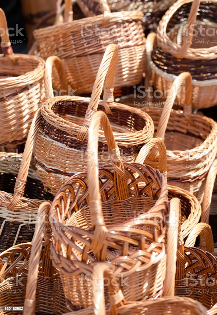 Hand woven wicker baskets stock photo
