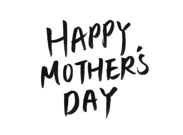 hand write happy mothers day calligraphy on white - happy mothers day type stock photos and pictures