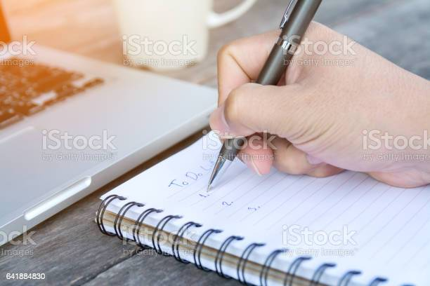 Hand Write To Do List On Notebook Stock Photo - Download Image Now