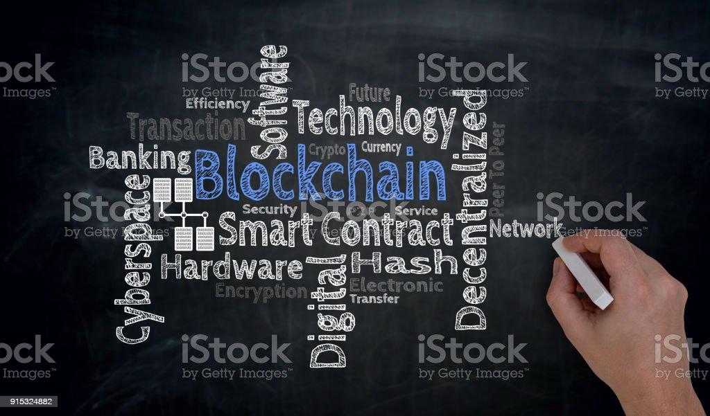 Hand schreibt Blockchain Cloud auf Tafel Konzept – Foto