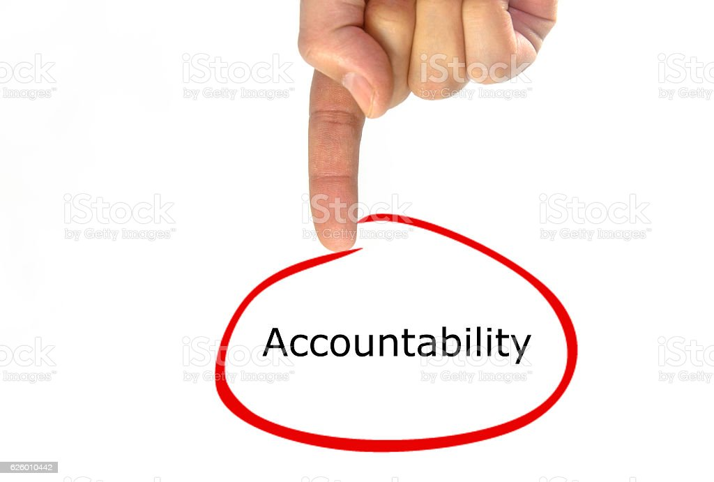 hand writing Accountability green talking balloon stock photo