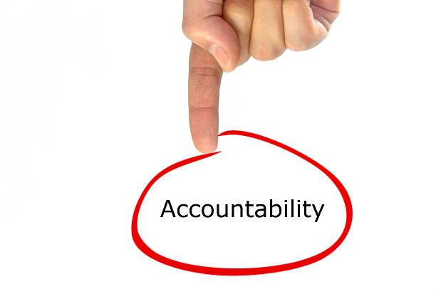 hand writing Accountability green talking balloon stock photo