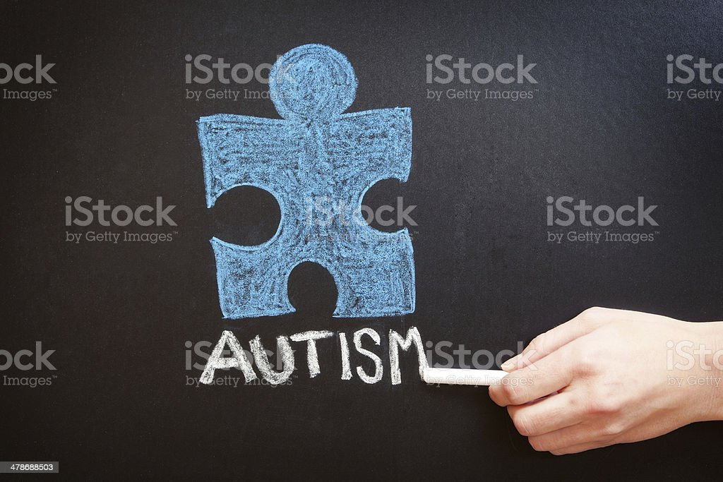 Hand Writing Autism On Chalkboard stock photo