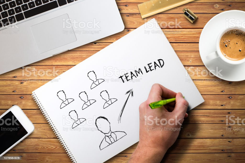 hand writing concept of team leading on a college block