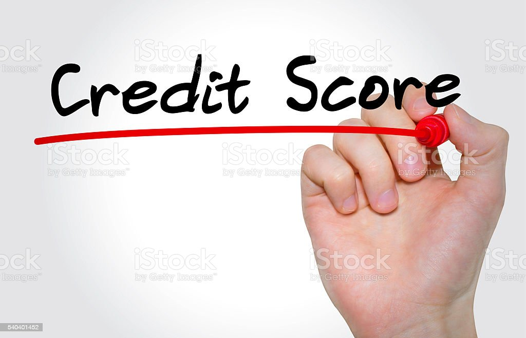 Hand writing Credit Score with marker, Business concept stock photo
