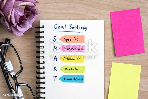 istock Hand writing definition for smart goal setting on notebook 547434156