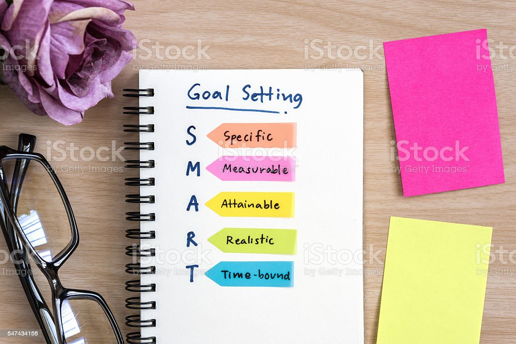 Hand writing definition for smart goal setting on notebook stock photo