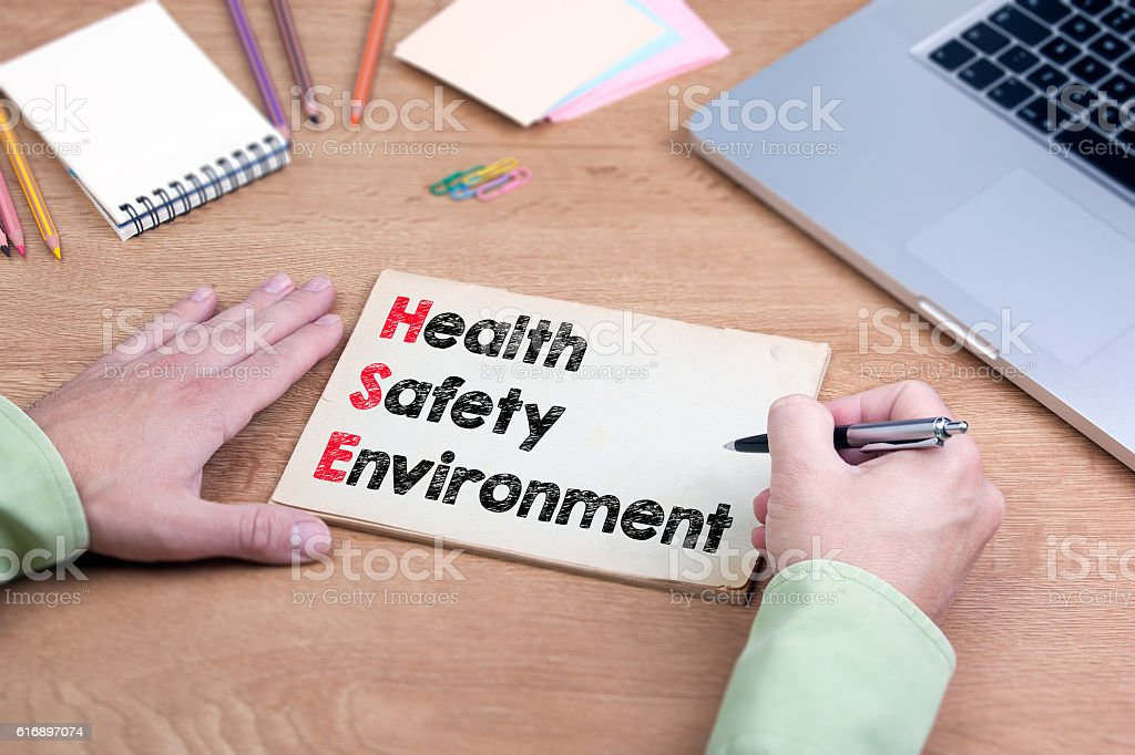 Hand writing Health Safety Environment stock photo
