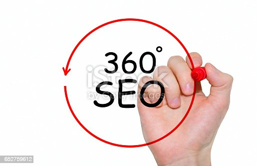 866680594 istock photo Hand writing inscription 360 degrees SEO with marker, concept 652759612