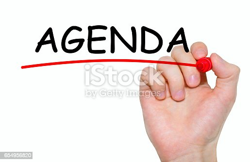 Hand writing inscription Agenda with marker, concept