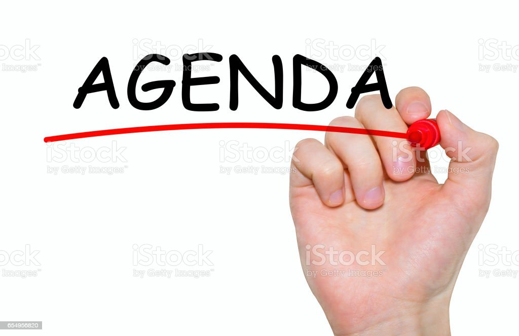 Hand writing inscription Agenda with marker, concept stock photo