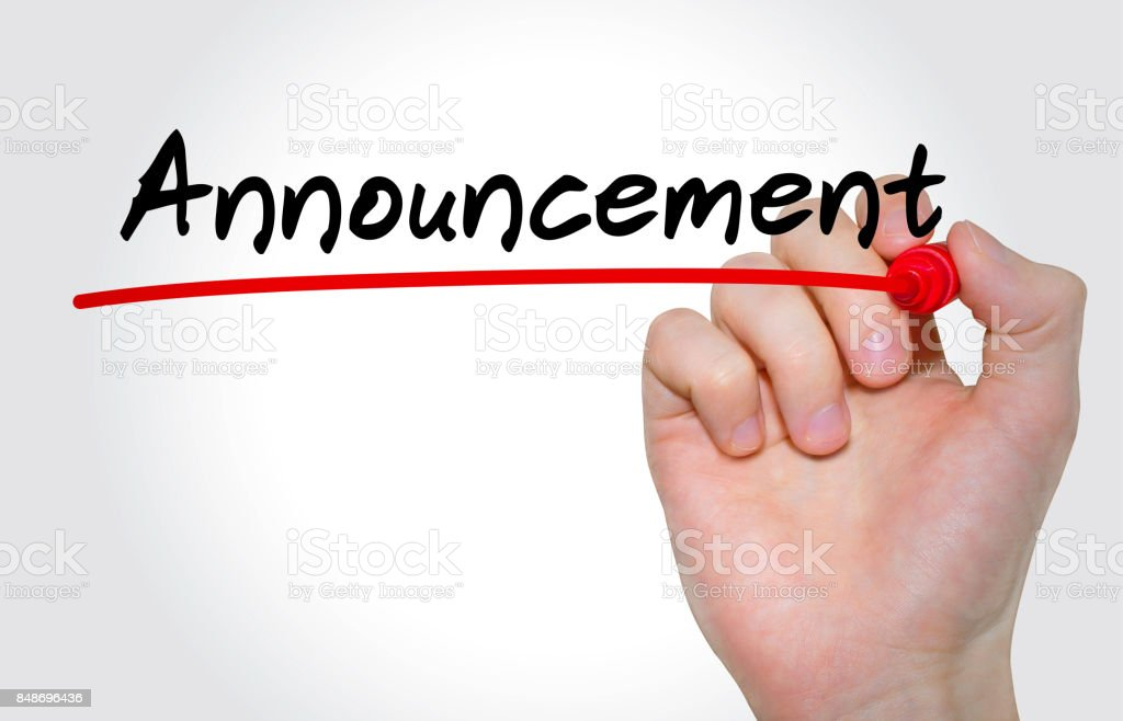 Hand writing inscription Announcement with marker, concept stock photo