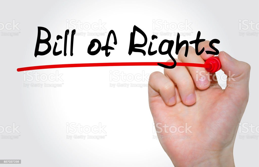 Hand writing inscription Bill of Rights with marker, concept stock photo