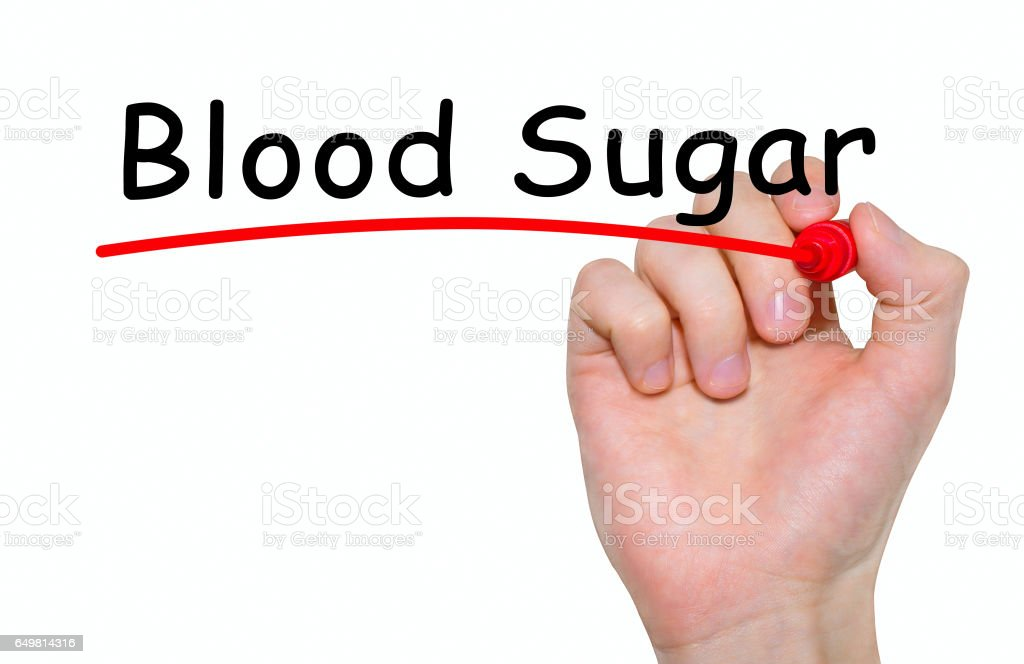 Hand writing inscription Blood Sugar with marker, concept stock photo