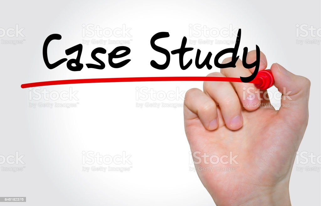Hand writing inscription Case Study with marker, concept stock photo