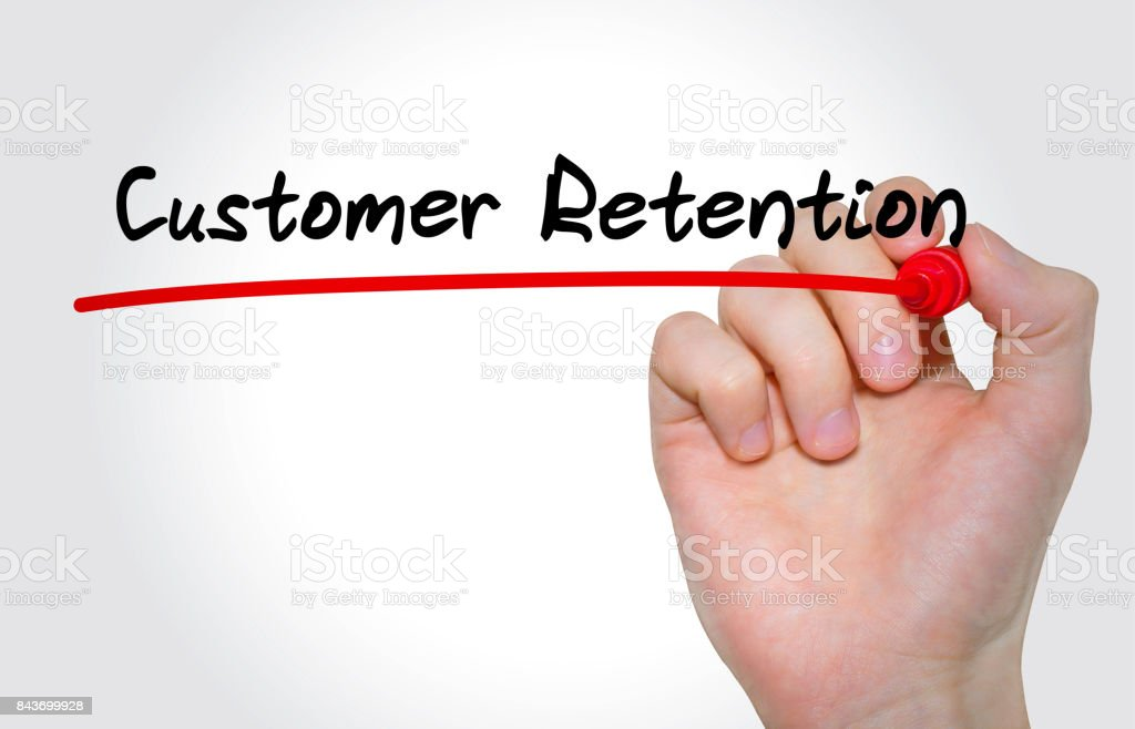 Hand writing inscription Customer Retention with marker, concept stock photo