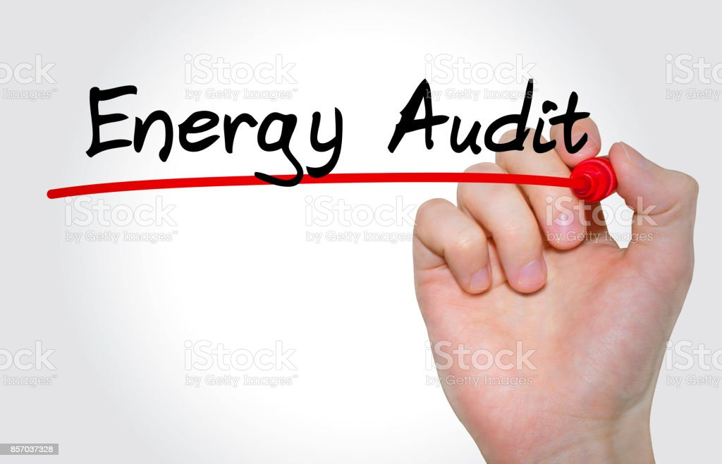 Hand writing inscription Energy Audit with marker, concept stock photo