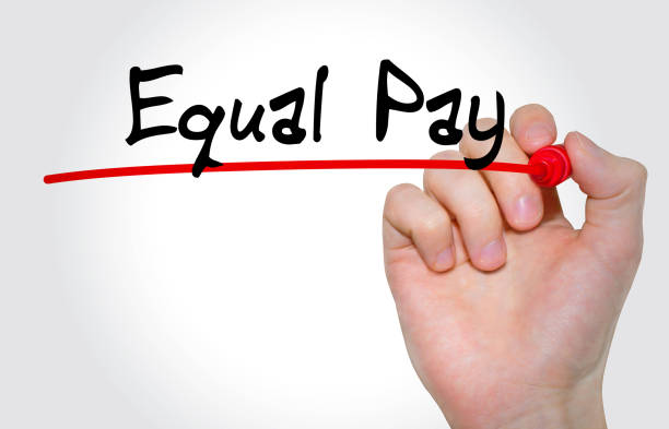hand writing inscription equal pay with marker, concept - gender stereotypes stock pictures, royalty-free photos & images