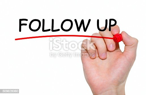"""istock Hand writing inscription """"Follow Up"""" with marker, concept 509628060"""