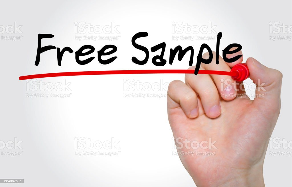 Hand writing inscription Free Sample with marker, concept stock photo