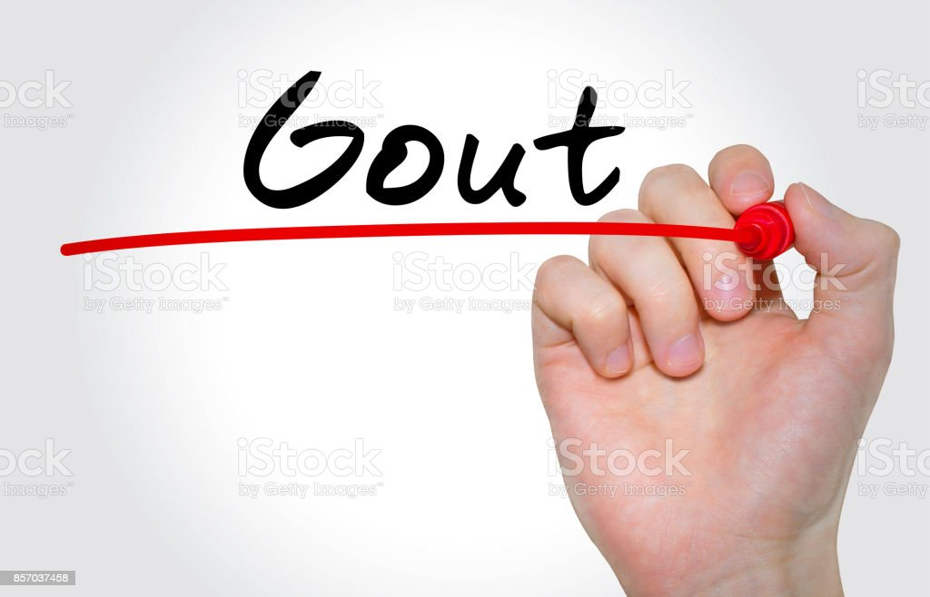 Hand writing inscription Gout with marker, concept stock photo