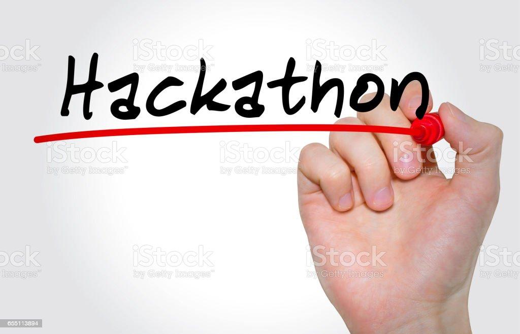 Handschrift Inschrift Hackathon mit Marker, Konzept – Foto