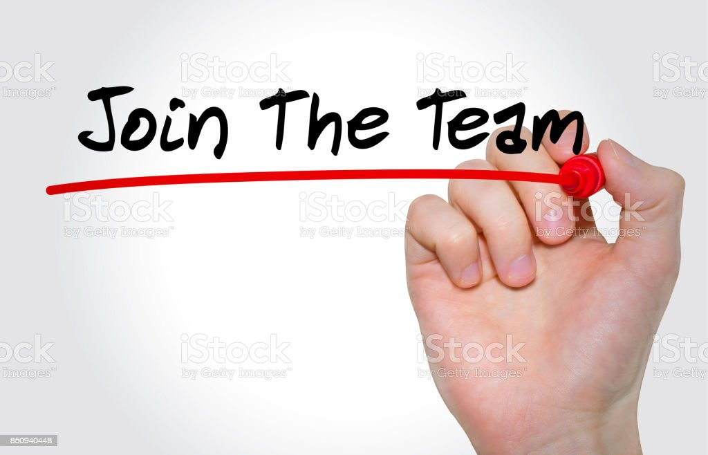 Hand writing inscription Join The Team with marker, concept stock photo