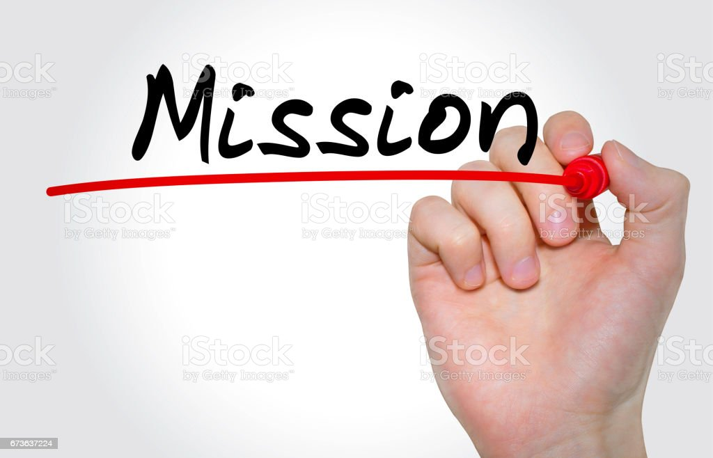 Hand writing inscription Mission with marker, concept stock photo