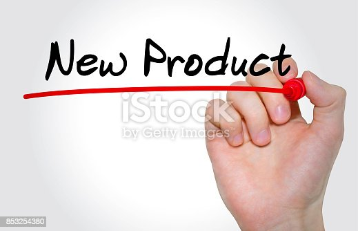 istock Hand writing inscription New Product with marker, concept 853254380
