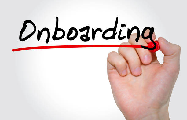 Hand writing inscription Onboarding with marker, concept stock photo