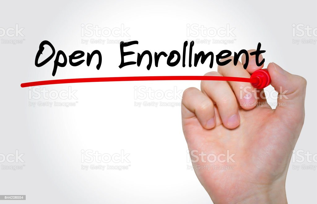 Hand writing inscription Open Enrollment with marker, concept stock photo