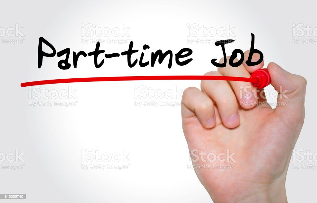 Hand Writing Inscription Parttime Job With Marker Concept