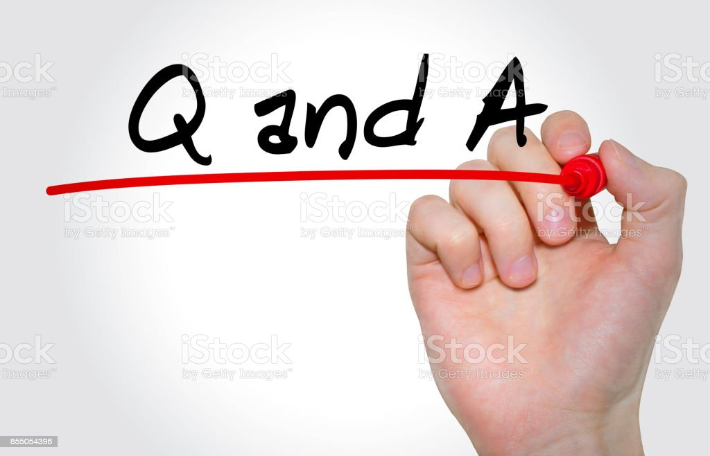 Hand writing inscription Q and A with marker, concept stock photo
