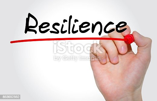 istock Hand writing inscription Resilience with marker, concept 853652552