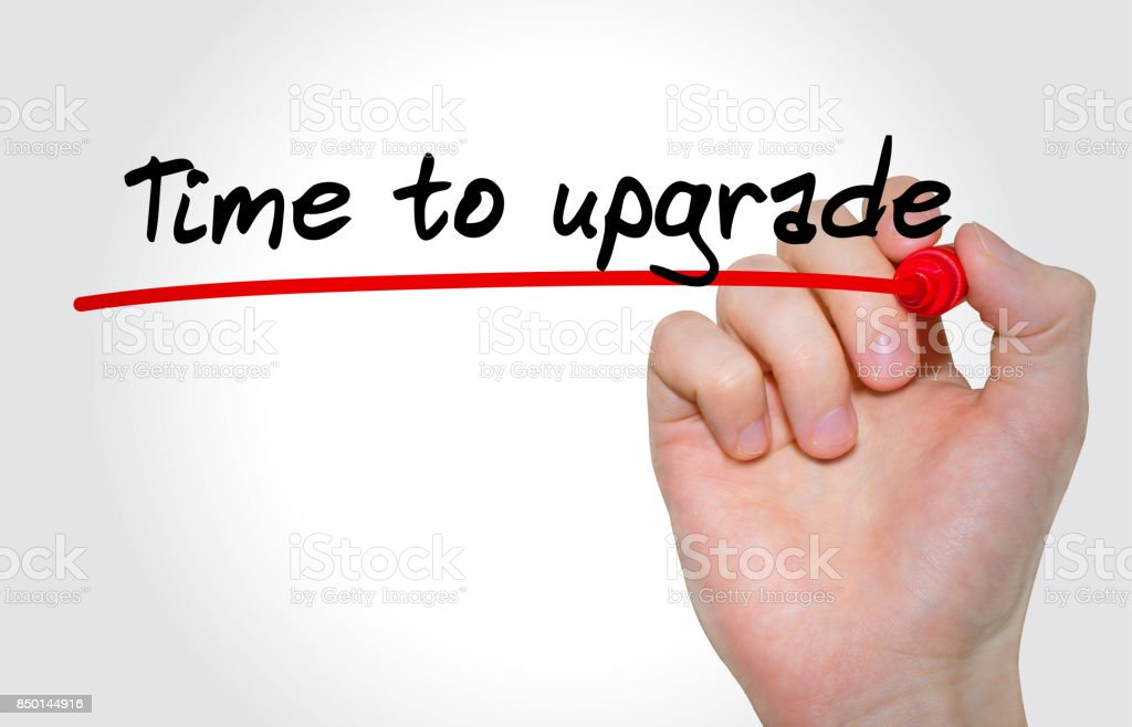Hand writing inscription Time to upgrade with marker, concept stock photo