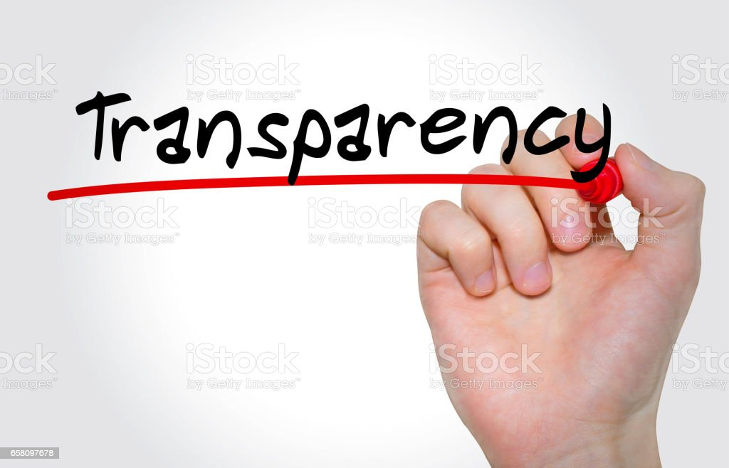 Hand writing inscription Transparency with marker, concept stock photo
