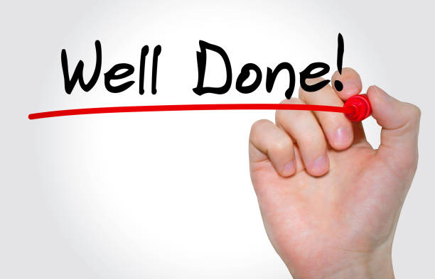 hand writing inscription well done with marker, concept - congratulations stock photos and pictures