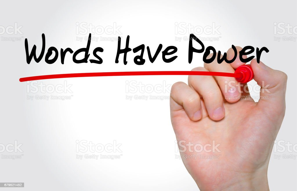 Hand writing inscription Words Have Power with marker, concept stock photo