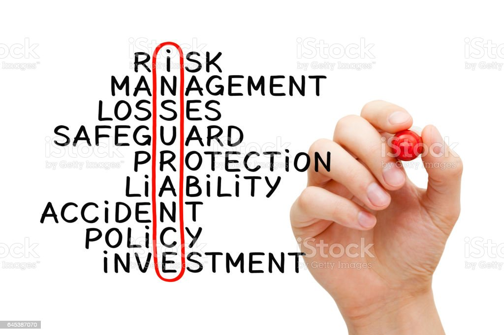 Hand Writing Insurance Crossword Concept stock photo