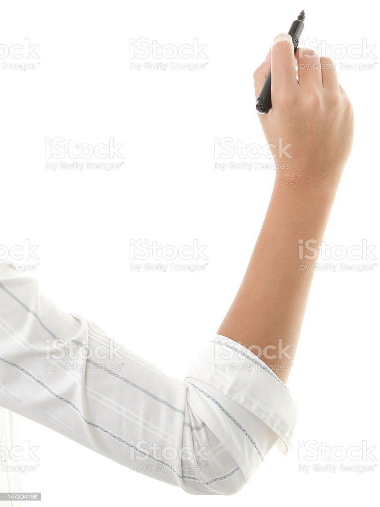 Hand writing isolated on white stock photo