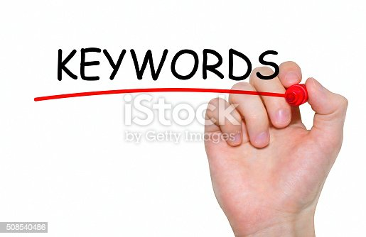 866680594 istock photo Hand writing Keywords with red marker on transparent wipe board. 508540486