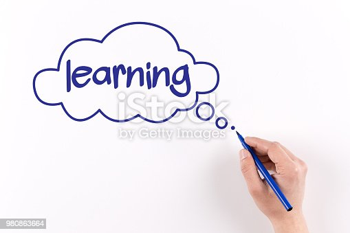 850892616 istock photo Hand writing Learning on white paper, View from above 980863664