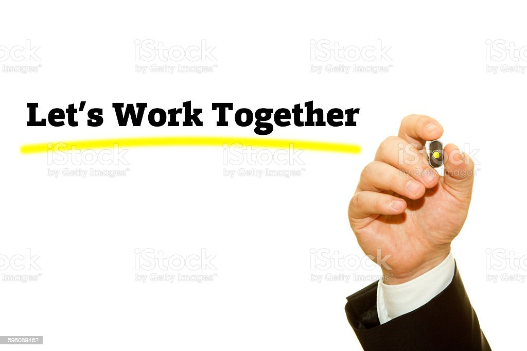 Hand writing Let's Work Together with a marker. royalty-free stock photo