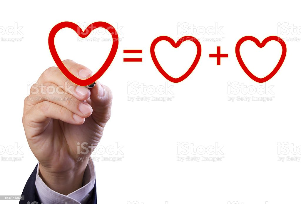 hand writing love mathematical equation  of heart royalty-free stock photo