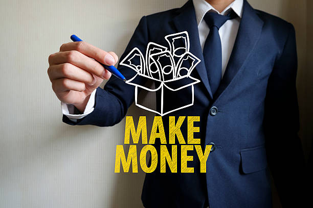 hand writing make money , business concept, business idea stock photo
