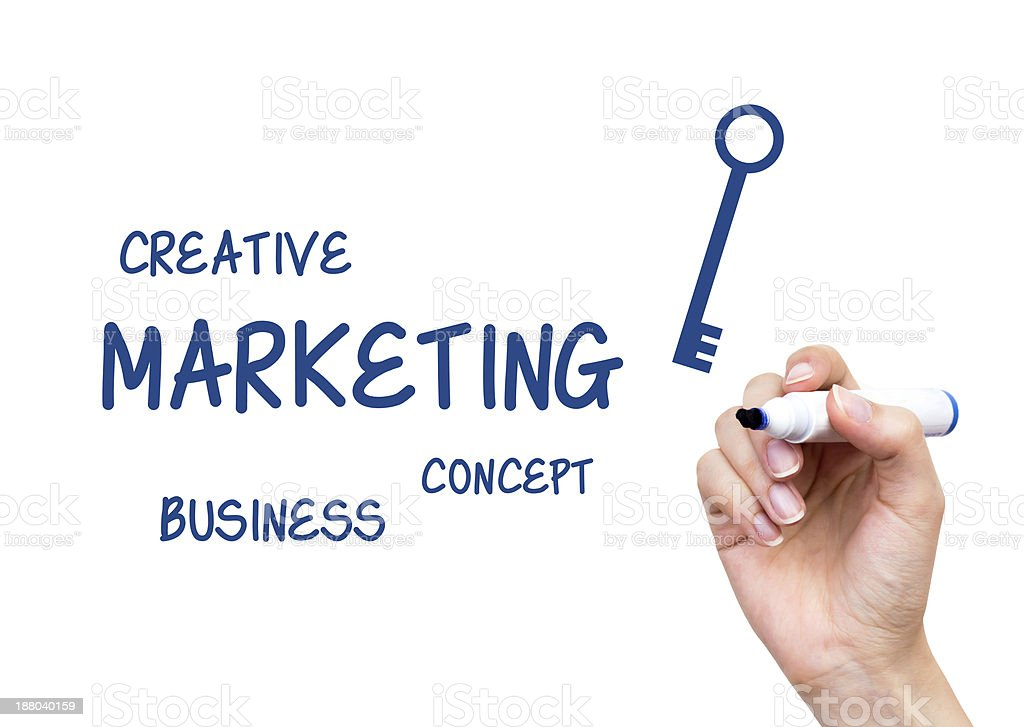 Hand writing Marketing content with blue marker on virtual board royalty-free stock photo