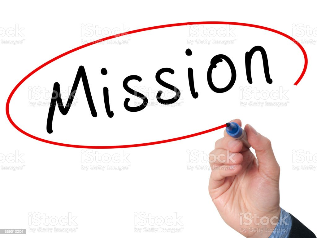 Hand writing Mission with marker on virtual screen stock photo