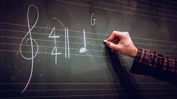 Hand writing music notes on a score on blackboard with white chalk. Musical composition or training or education concept. stock photo