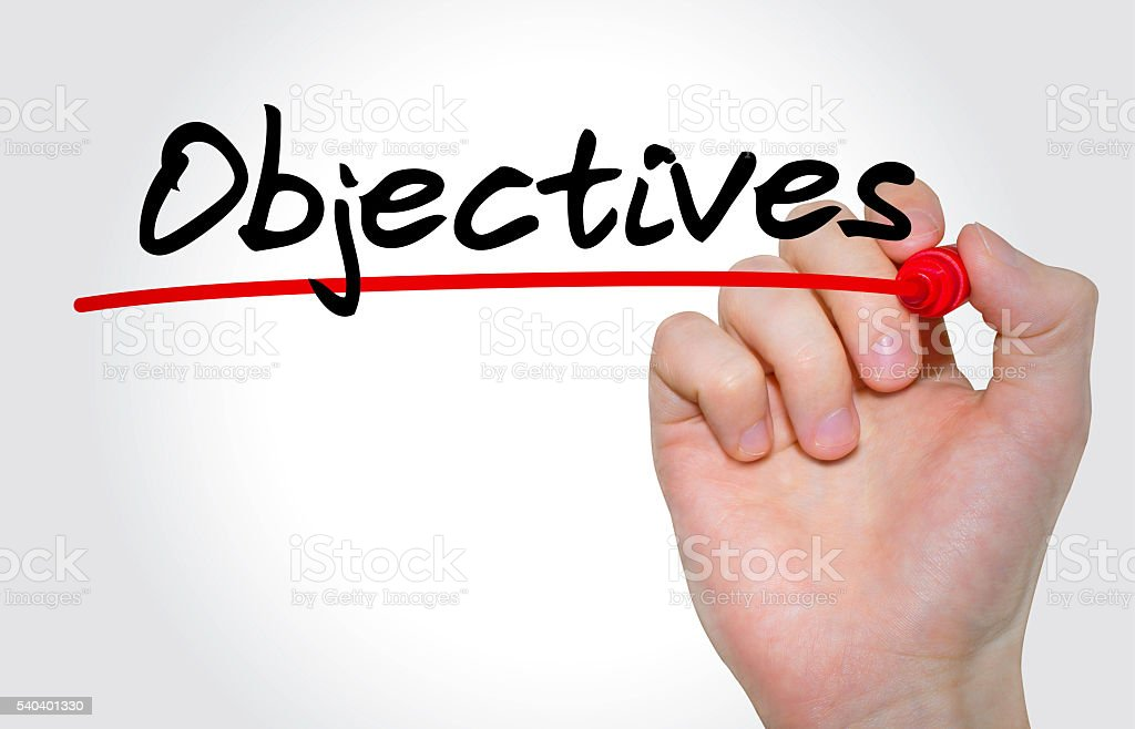 Hand writing Objectives with marker, Business concept stock photo
